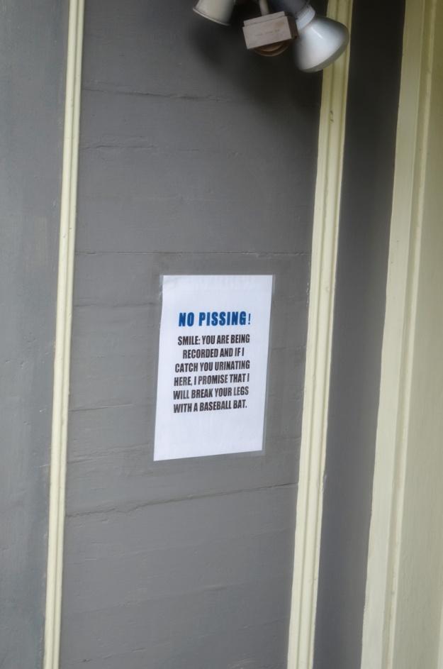 No urinating!