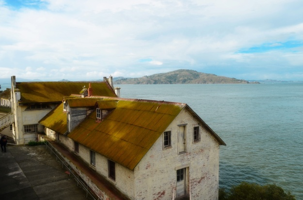 Mossed over roofs at Alcatraz