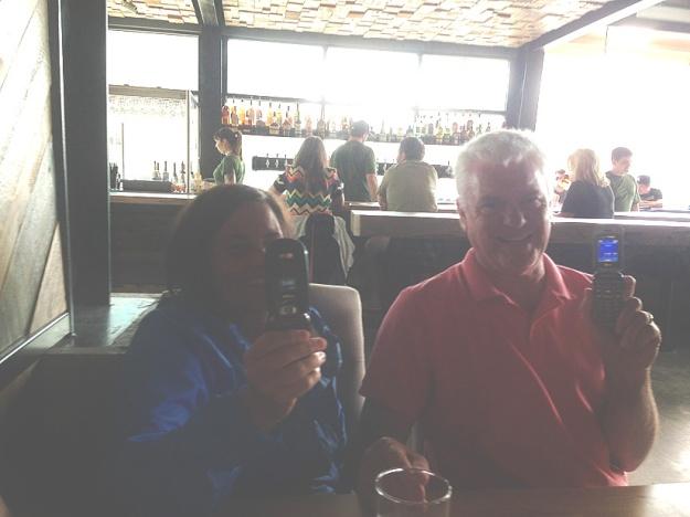 David and Paula -- proud owners of flip phones