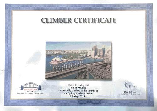 Sydney Bridge Climb Certificate